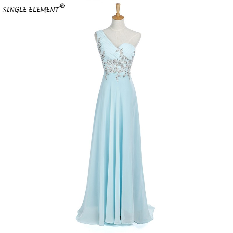 SINGLE ELEMENT Real Photo One Shoulder Chiffon Long   Bridesmaid     Dress