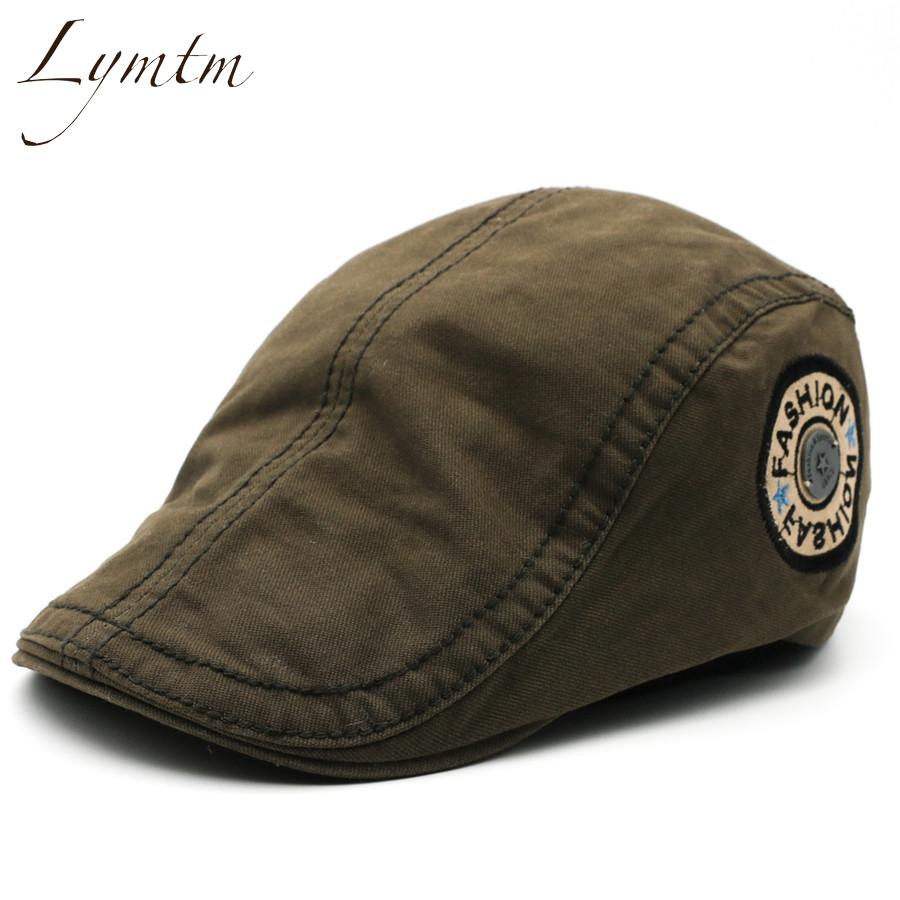 [Lymtm] 2018 New Letter Embroidery Army Green Hat Outdoor Newsboy Caps Men Adjustable Driving Flat Golf Caps casquette