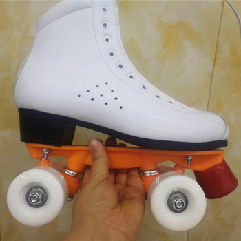 Two Line Roller Skates Shoes Double Row Skates Patines Children Adult Parenting Sneakers PU Wheels No Flash Cowhide Leather IB44