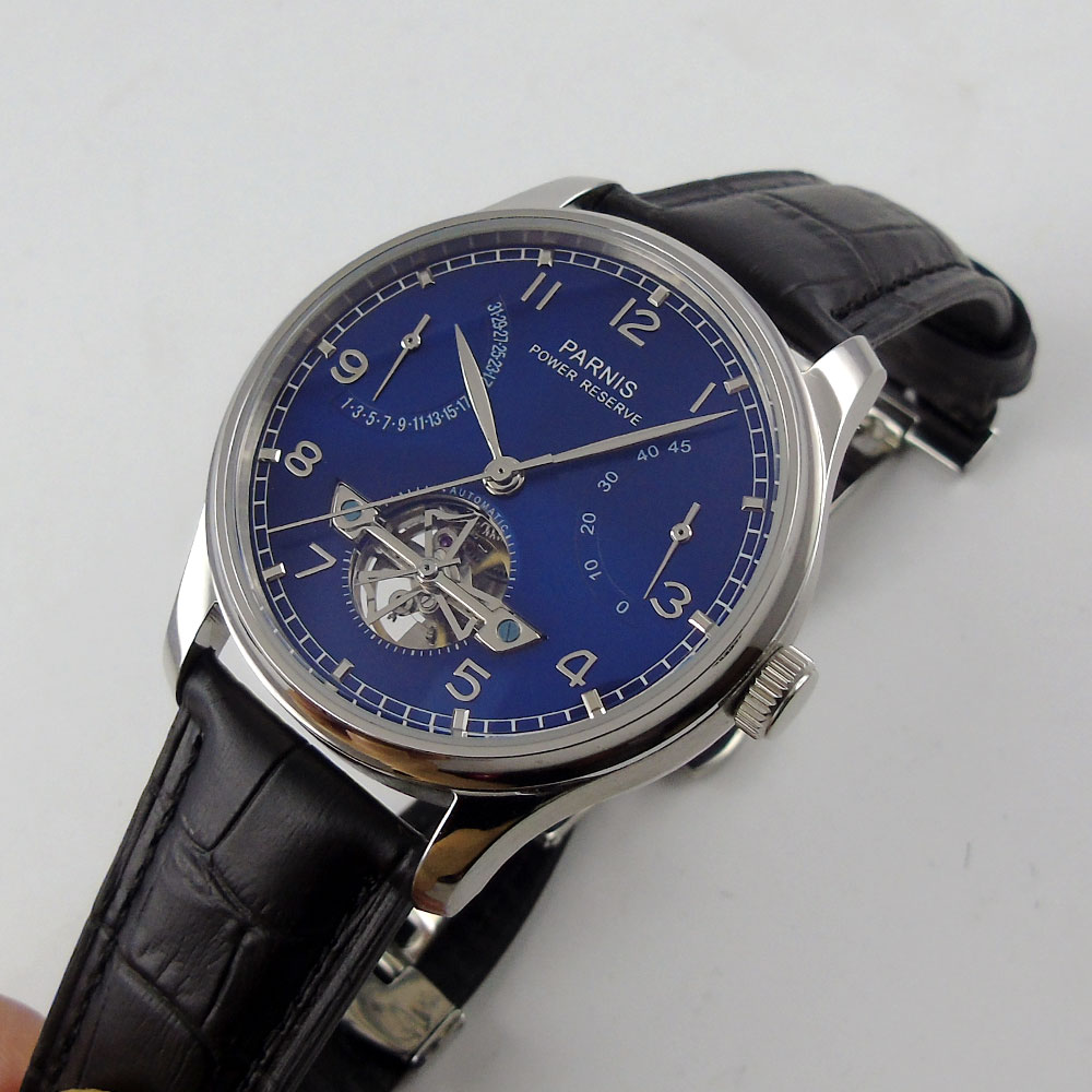 2018 New 43mm parnis Blue Dial Date adjust silver hands Valentines Romantic Sweet gifts Automatic Mechanical men's Watch