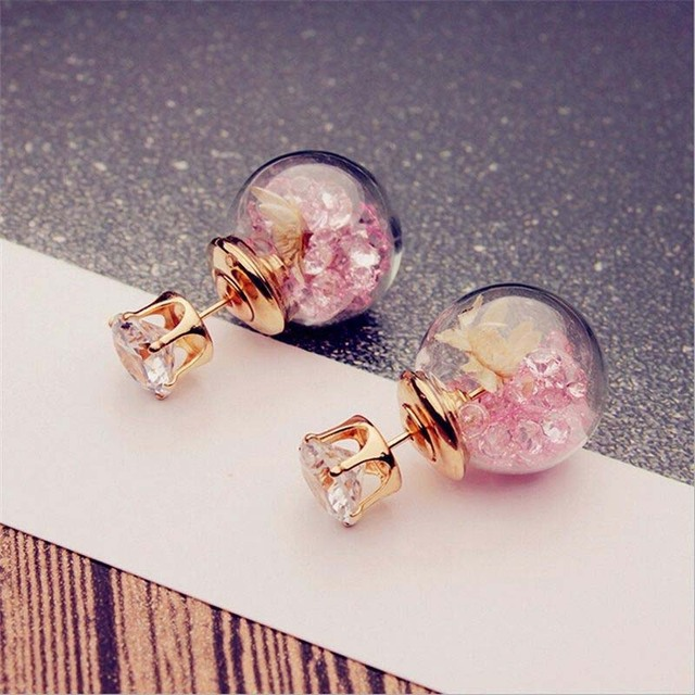 Fashion Jewelry Colorful Crystal Stones Dry Flower Gl Ball Double Earrings Front And Back Ear Stud