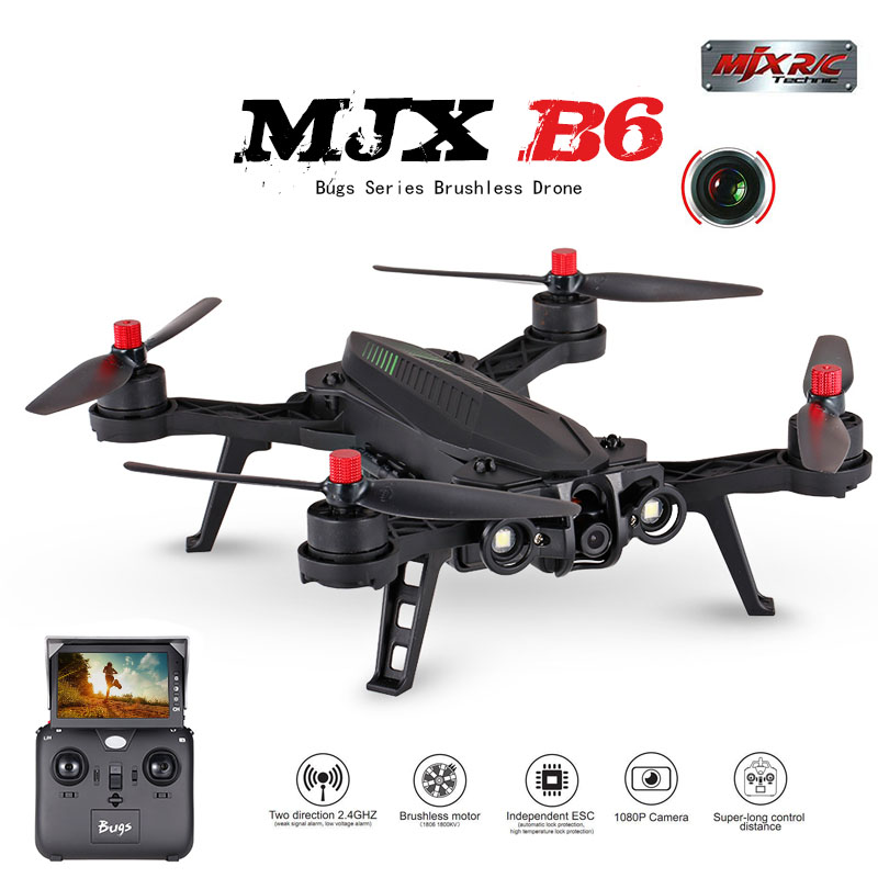 MJX B6 Bugs 6 RC Quadrocopter Drone with 1600kv Brushless motor HD Wifi Camera real time transmission 14 min flying time 20KM/H