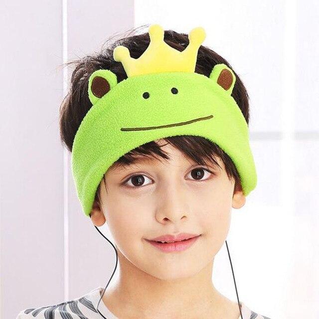 22037cf2e34 Adjustable Soft Fleece Kids Headphones headband Cartoon earphones Head sets  for children learning entertainment Goggles mask