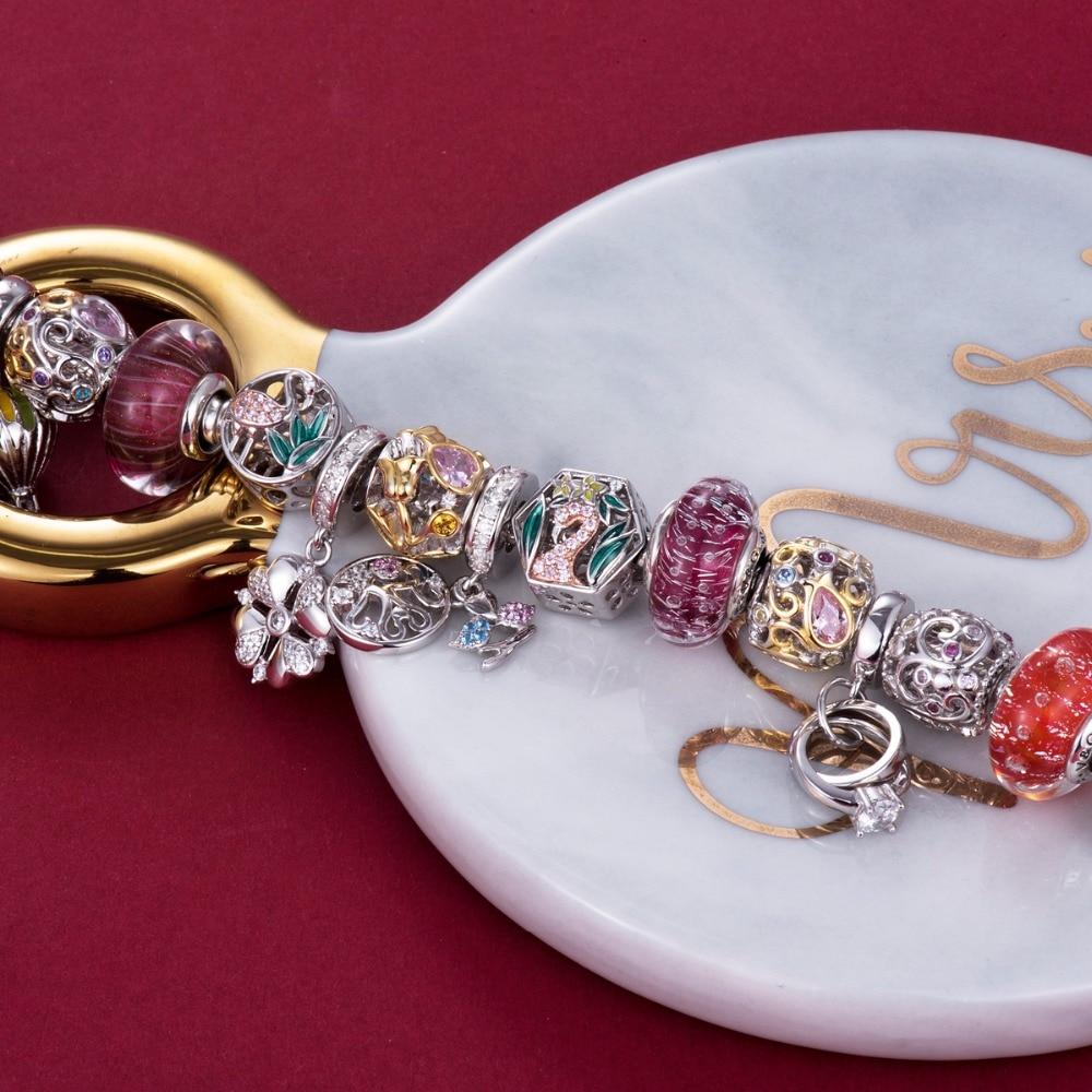 Video! Goldene Rose am Rebstock 925 Sterling Silber Perlen Charms - Modeschmuck - Foto 6