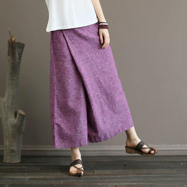 Johnature Solid Color Elastic Mid Waist New Skirt Pants 2019 New Summer Vintage Loose Cotton Linen Ankle-Length Wide Leg Pants
