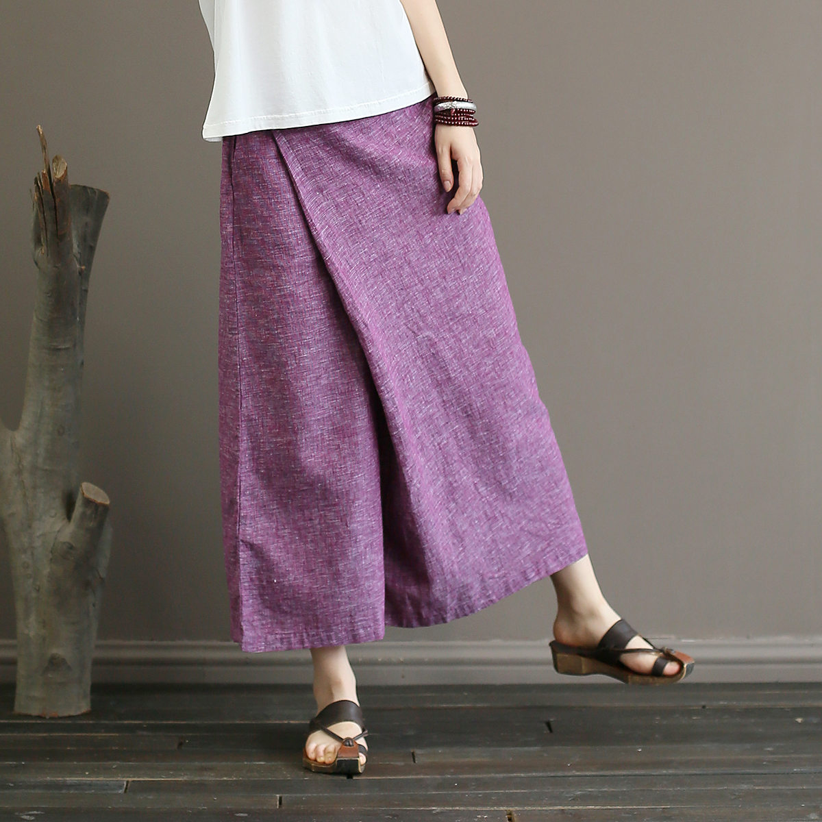 Johnature Solid Color Elastic Mid Waist New Skirt   Pants   2018 New Summer Vintage Loose Cotton Linen Ankle-Length   Wide     Leg     Pants