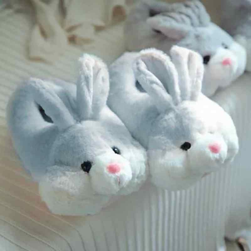 9701c9104604c Indoor House Slipper Soft Plush Cotton Cute Slippers Shoes Non-Slip Floor  Home Furry Rabbit