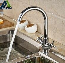 Współczesna Kitchen Sink Mixer Tap Podwójny Obrotowy Uchwyt Mosiądz Chromowany Kran