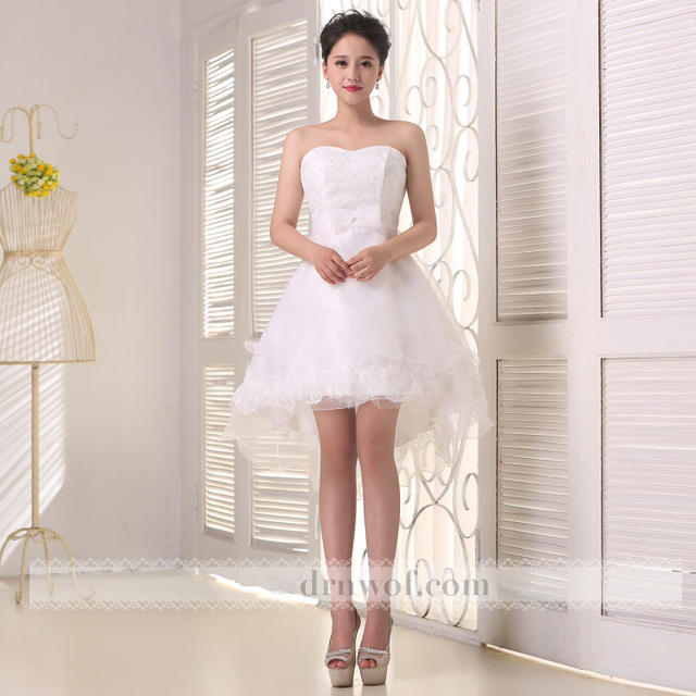 Brand New Sexy Strapless Short Homecoming Dresses Cheap 2017 Prom Hi-Lo Lace Bow Party Formal Dress Summer Style Color White
