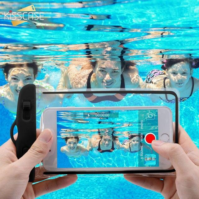 KISSCASE Điện Thoại Chống Thấm Nước Trường Hợp Đối Với Samsung Galaxy S10 S9 Cộng Với Bìa dưới nước Pouch Túi Trường Hợp Đối Với Huawei mate 20 p30 lite pro