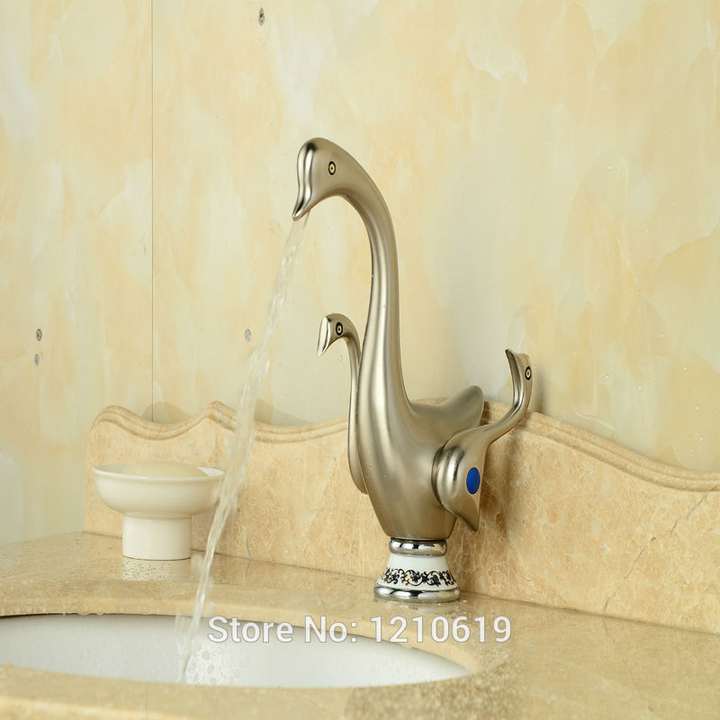 Newly Nickel Brushed Bathroom Basin Faucet Dual Handles Creative Sink Mixer Faucet Vessel Tap Deck-mount new arrive dual square handles waterfall spout bathroom sink basin faucet brushed nickel deck mount