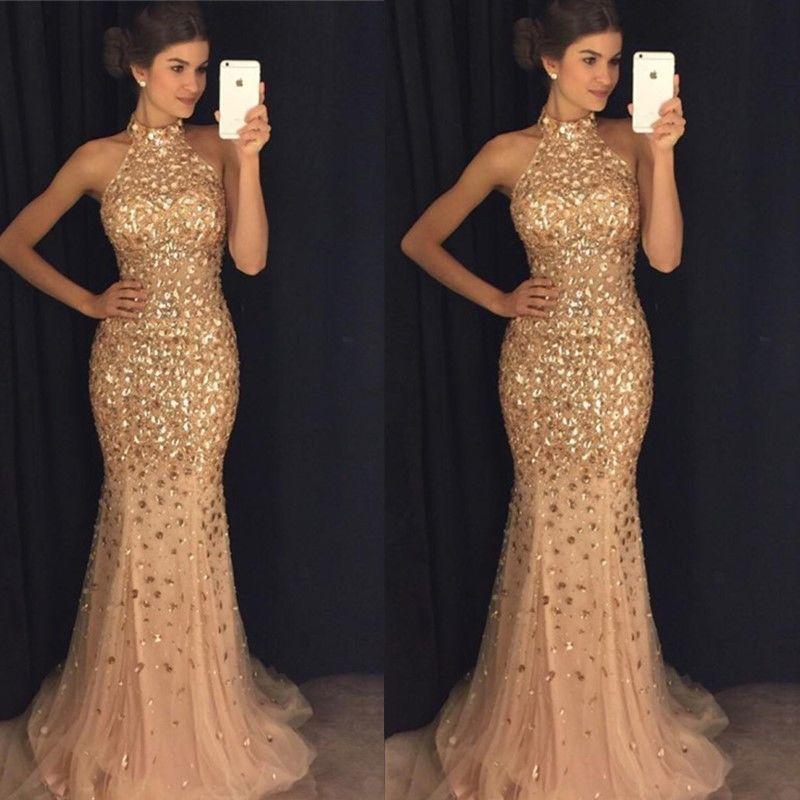 Luxury Gold Mermaid Prom Dresses 2019 vestidos de fiesta largos elegantes de gala Beaded Crystal Imported Party Dresss