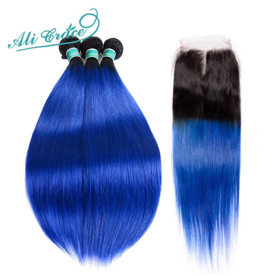Ali Grace Hair Ombre Bundles With Closure 1B Blue Two Tone Remy Human Hair Brazilian Straight