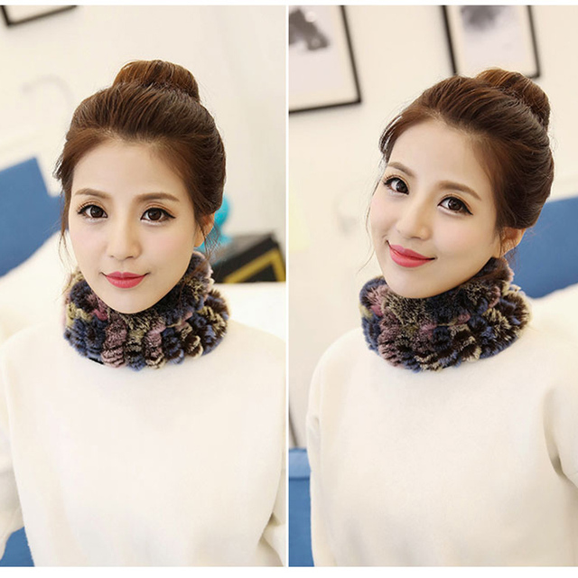 New Winter Rabbit Fur Scarf Collar fashion Women Knitted Scarves Collar Neck Warmer Crochet Ring Loop Scarf Hot Sale Promotion 7