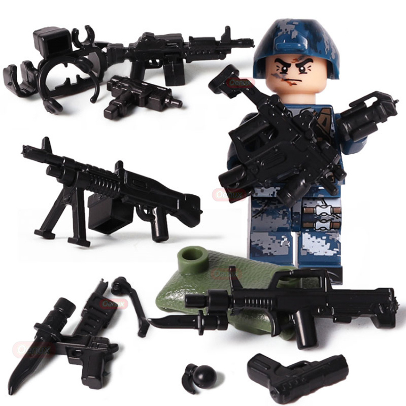 6pcs/Set MILITARY Army Building Blocks Soldiers Team Forces Model Action Figures Compatible with LegoINGLYs Toys For children
