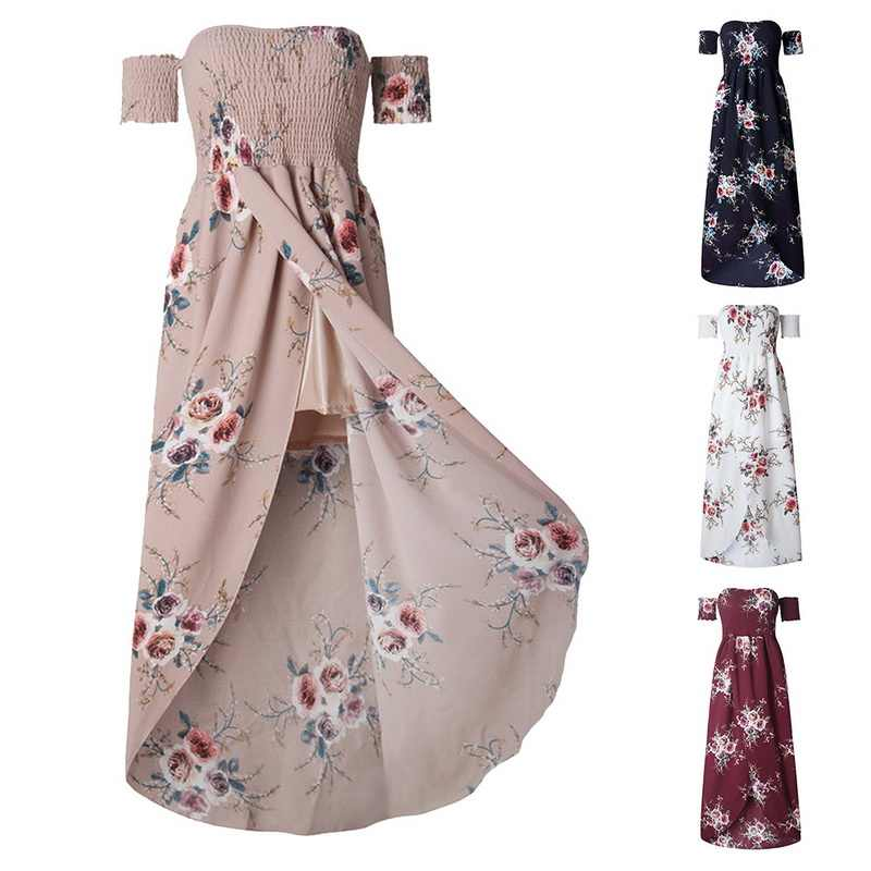 e721b154e08 ... SHUJIN Boho Print Party Long Dress Women Summer Sexy Strapless Off  Shoulder Sundress Plus Size Maxi ...