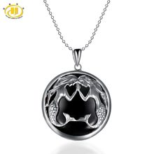Hutang Pisces Zodiac Pendant Natural Gemstone Black Jade 23mm Solid 925 Sterling Silver Necklace Women's Men's Fine Jewelry(China)