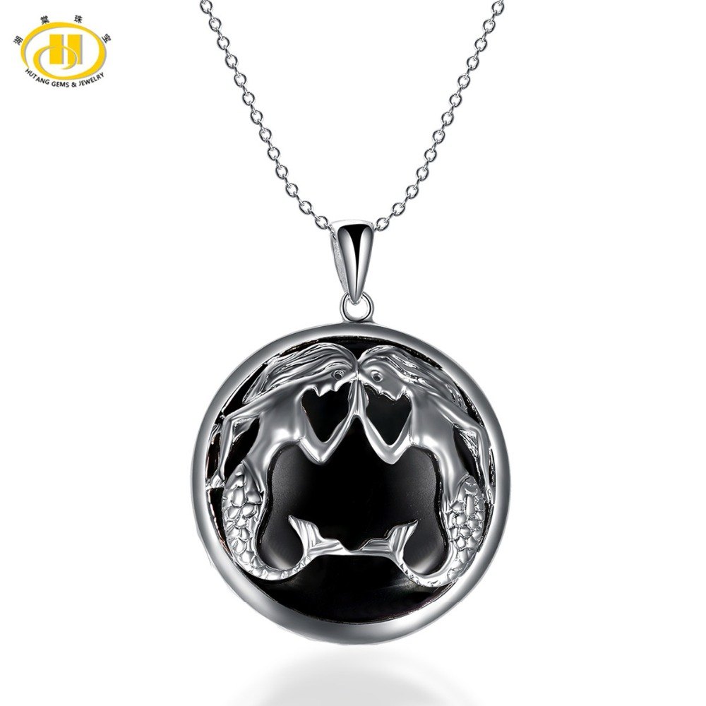 Hutang Pisces Zodiac Pendant Natural Gemstone Black Jade 23mm Solid 925 Sterling Silver Necklace Women's Men's Fine Jewelry