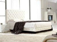 Post современные реальные натуральная кожа кровать/мягкая кровать/двуспальная кровать king/queen size спальни дома мебель кристалл кнопки + 2 ночь