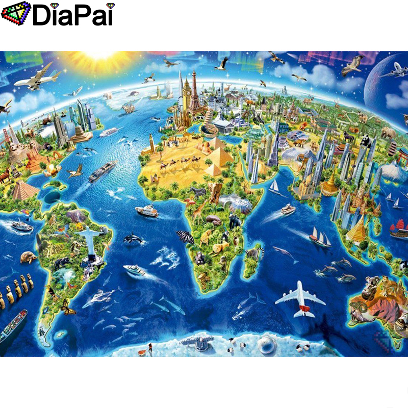 DIAPAI Diamond Painting 5D DIY 100% Full Square/Round Drill City plane ship Embroidery Cross Stitch 3D Decor A24747