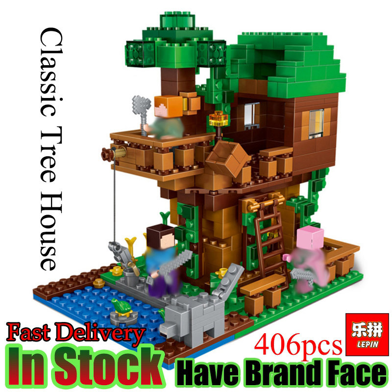LEPIN  Minecraft 406pcs Classic Tree House My world Model Figures Building Blocks Bricks Kids Educational Toys For Children Gift lepin 18003 my world series the jungle tree house model building blocks set compatible original 21125 mini toys for children