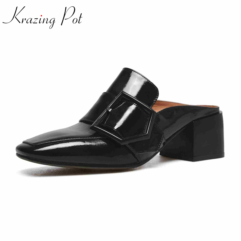 Krazing Pot 2018 new mules patent genuine leather slip on outside slippers metal buckle square toe dinner party summer pumps L21 simple style sleeveless plunging neck see through solid color dress for women