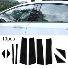 10pcs PC Plastic Cement Window Pillar Posts Trim Set Cover Molding For Mazda 3 Axela 2014 2015 2016 2017 Car Styling