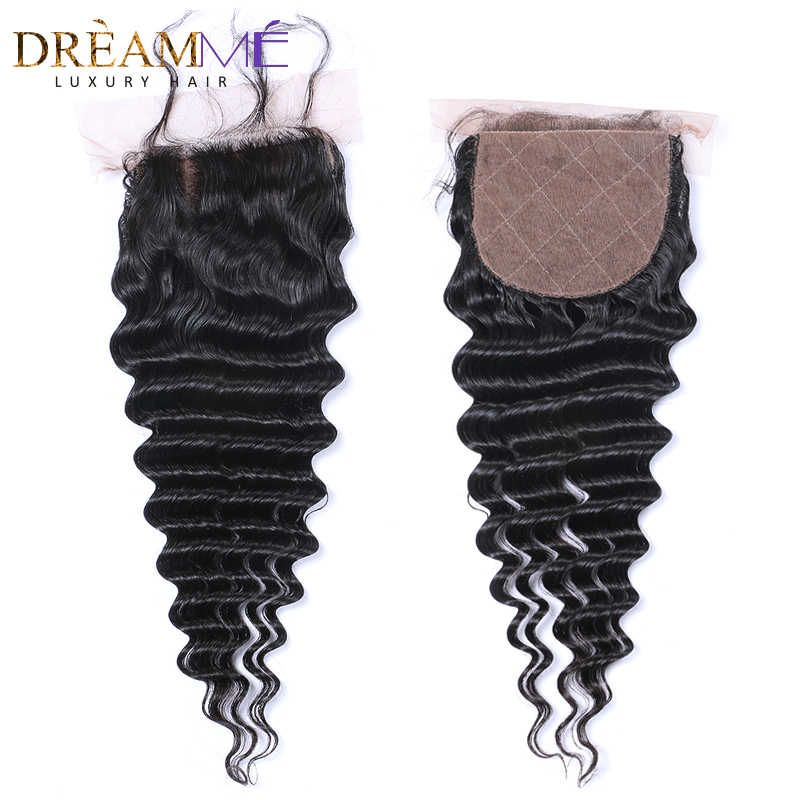 Dreamme Hair Deep Wave Silk Base Closure Brazilian Remy Hair Closure Swiss Lace With Baby Hair Hidden Knots Free Shipping