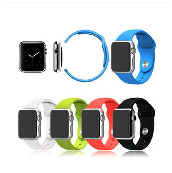 1:1 Original Silicone Band With Connector Adapter For Apple Watch 42mm/38mm Strap For iWatch Sports Buckle Bracelet