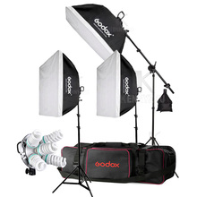 3x Godox TL-5 E27 5 патрон-светильник+ 15 шт. 150 Вт 5500 к лампа для фотостудии непрерывный светильник ing софтбокс Трехцветная Лампа Комплект головок