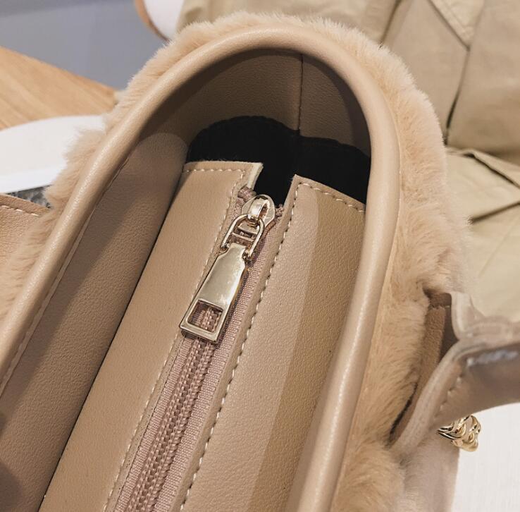 Winter Fur Letters Tote Chain Handbag Bag Women Crossbody Bag Female Shoulderbag #280 2