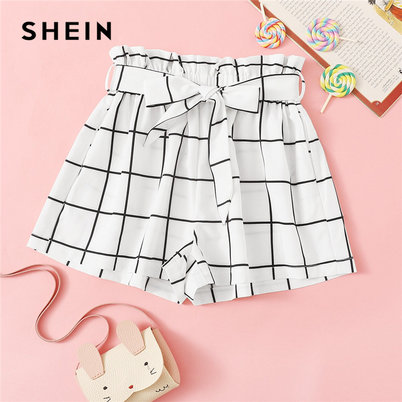 SHEIN Kiddie White Plaid Elastic Waist Casual Shorts With Belt Girls Bottoms 2019 Summer High Waist Ruffle Cute Teenager Shorts girls plain elastic waist shorts