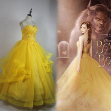 2019 Women Movie Beauty and The Beast Custom-made Yellow Tube Top Trailing Belle Cosplay Dress Adult Halloween Cosplay Costume все цены