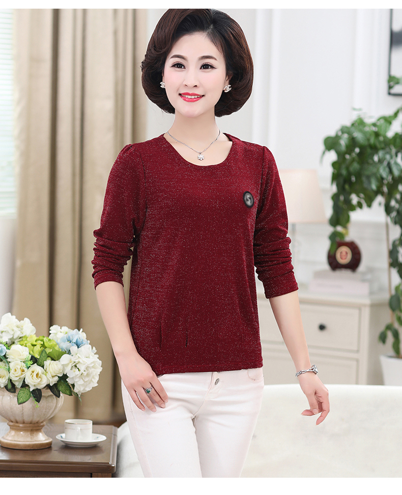 Women Spring Tops Bright Glod Yarn Blouses Red Caramel Green Twinkle Design Shirts Female Casual Long Sleeve O-neck Top For Woman (6)