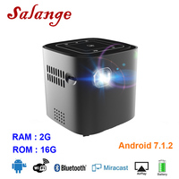 Salange 2019 Mini Pocket Projector Android 7.1.2 OS For Full HD 1080P Portable DLP Projector With Bluetooth Battery WIFI Beamer