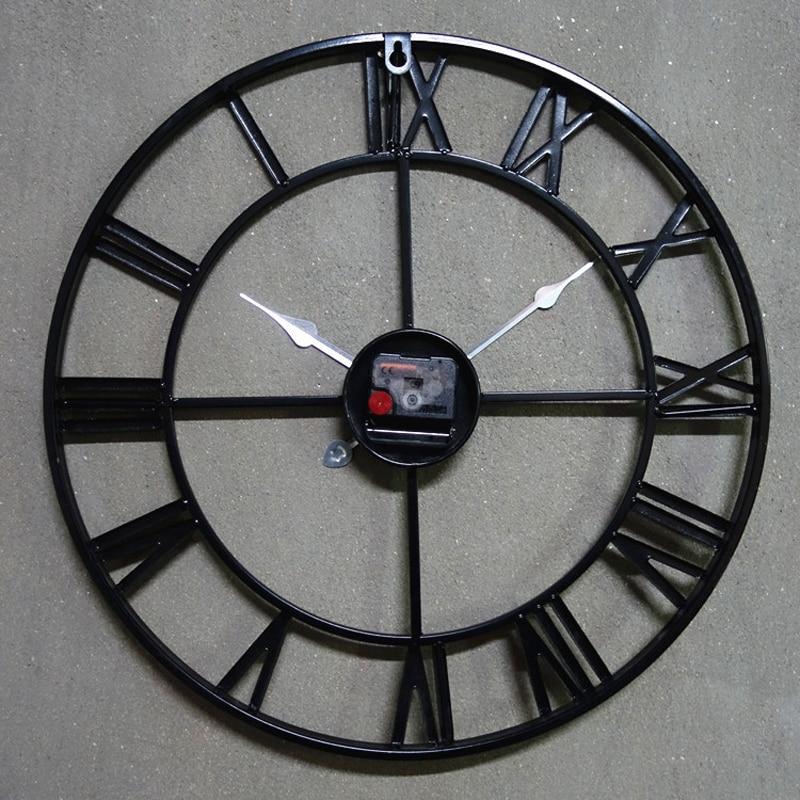 L253-KAYIYO 3D Iron Decorative Wall Clock Retro Big Art Gear Roman Numerals Design The Clock On The Wall (1)