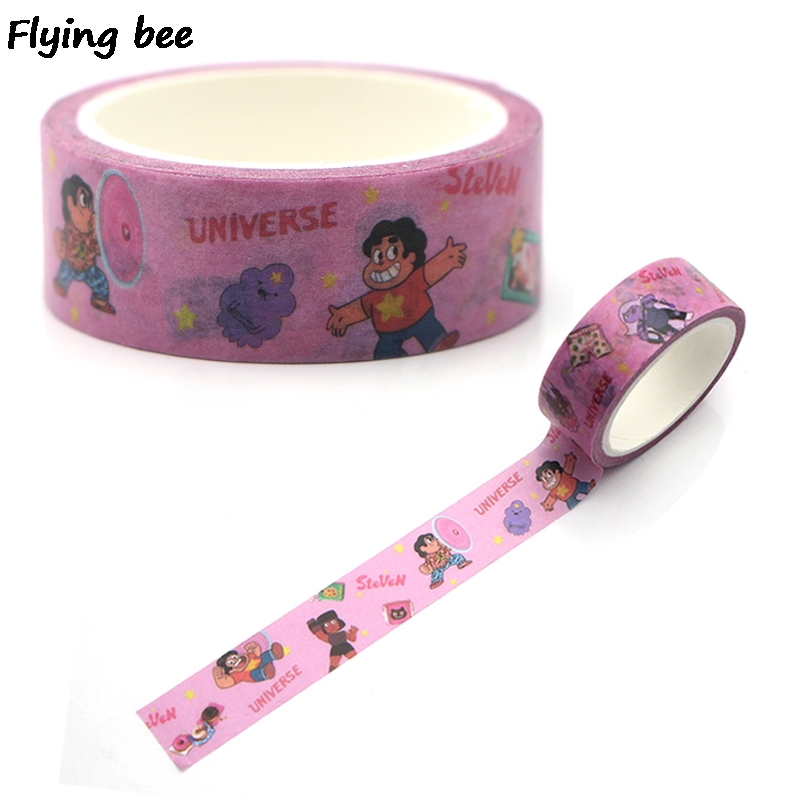 Flyingbee 15mmX5m  Creative Theme  Cartoon Washi Tape Paper DIY Decorative Adhesive Tape Stationery Masking Tapes Supplies X0320