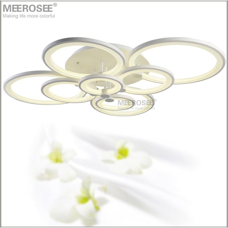 Modern LED Chandelier Light Fixture White Acrylic LED Ring