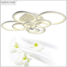 Modern LED Chandelier Light Fixture White Acrylic LED Ring Lamp for Living room Flush Mounted Lamparas de techo