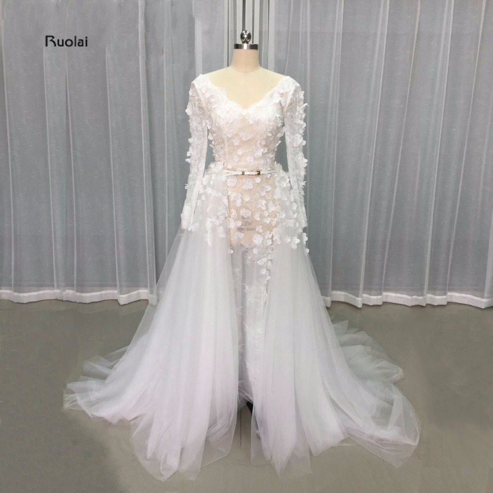 2017 Real Image Lace   Evening     Dresses   Long Sleeve Flowers Beading Pearls Wedding Party   Dresses   With Removable Train Custom Made