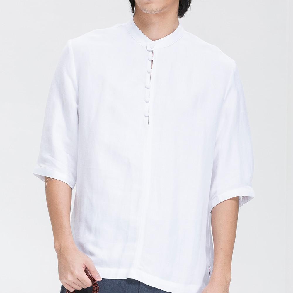 Shirt design white - 2016 New Chinese Traditional Men S Shirt Zen Casual Fashion Design Half Sleeve White Linen Cotton Summer