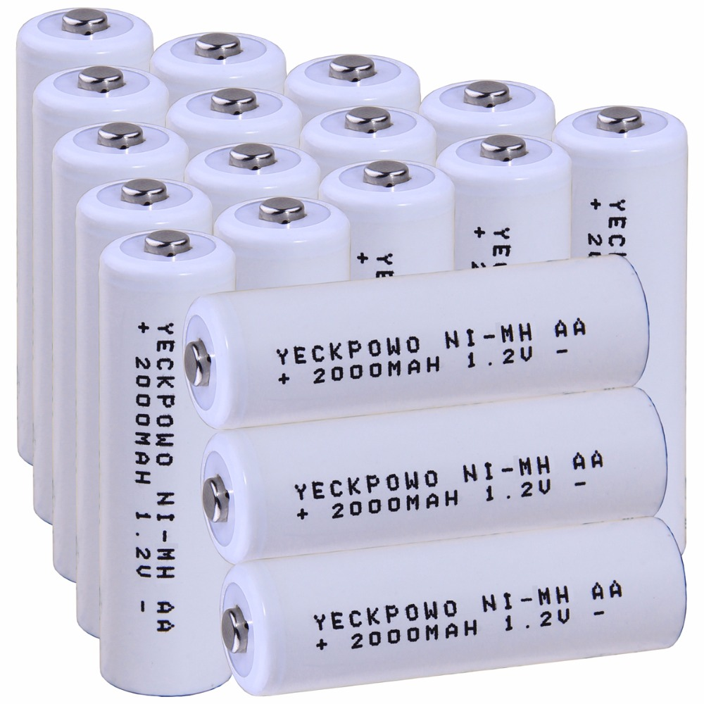 Real capacity! 18 pcs AA 1.2V NIMH AA rechargeable AA battery 2000mah for camera razor toy remote control flashlight 2A batterie