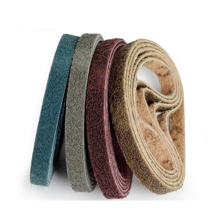 New 5pcs 520*20mm Non-woven Nylon Abrasive Sanding Belt For Stainless Steel Metal Striping Deburring