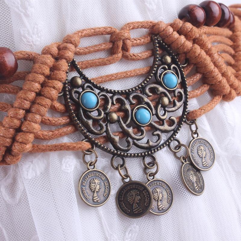Vintage correa de cintura decorado borla trenzado Bohemia cinta con cuerda para vestidos nudo femenino señoras ceinture Femme cadena