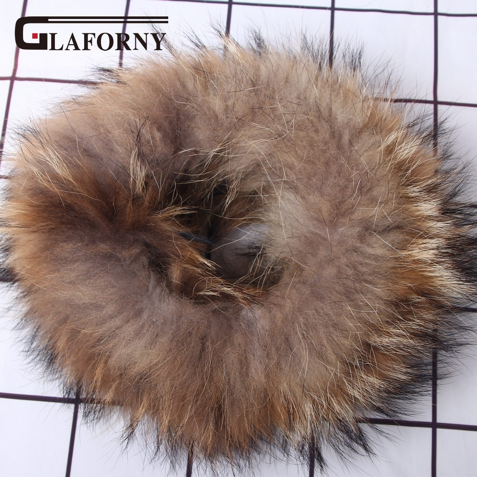 Glaforny 100% Real Knitted Raccoon Fur Scarf Collar Elastic Fur Headband Fur Ring Winter Neck Warmer Fur Wraps
