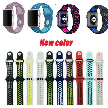 где купить Silicone Band For Apple Watch sport band Series 1/2/3/4 Strap For iwatch Sport band Buckle Bracel 38mm 40mm 42mm 44mm дешево