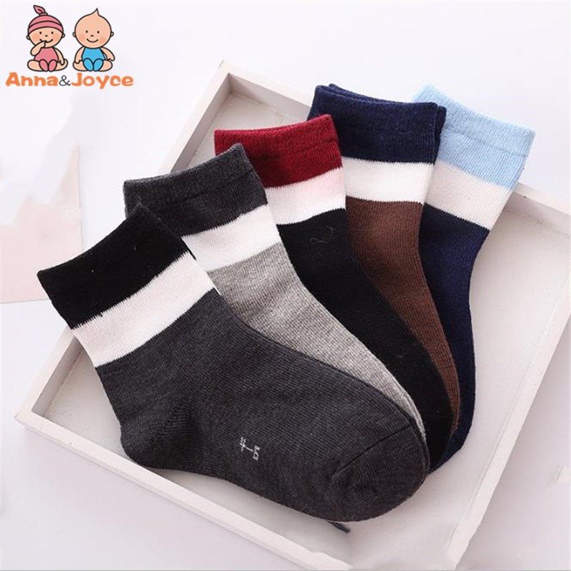 5 Pairs/Lot Unisex Kids Socks  Girls Spring Autumn Striped Socks Lot Children Boy Winter Cotton Socks 1to 12 Years