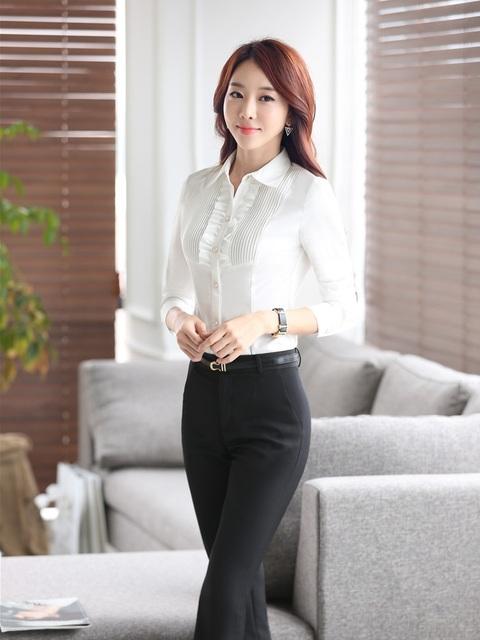Plus Size 3XL Mulheres Terninhos Formal Estilo Uniforme de Negócios Tops E Calças Das Senhoras Desgaste do Trabalho Ternos Com Calças Blusas Conjuntos