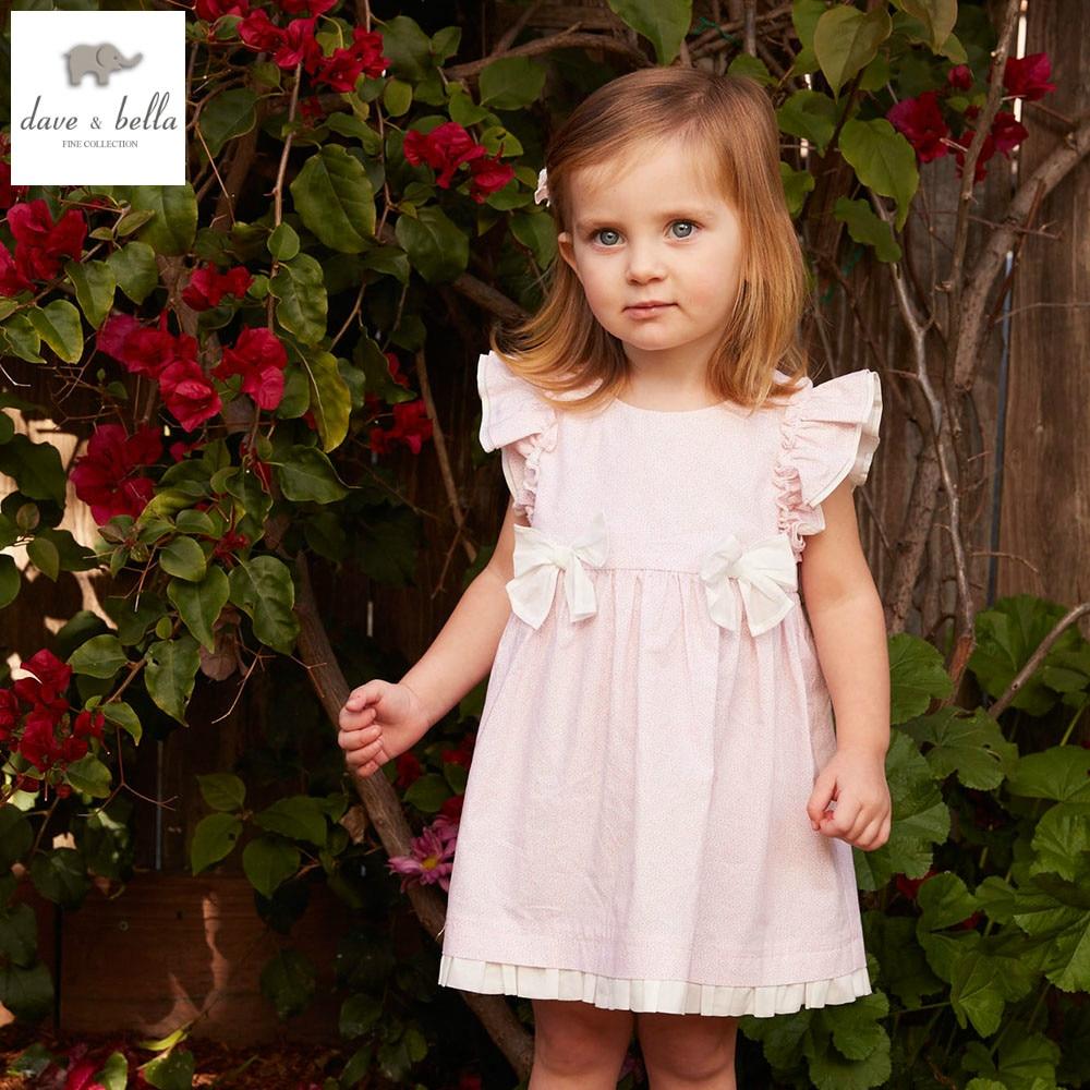 DB4875 dave bella summer baby girl pink floral princess dress baby wedding dress kids birthday clothes dress kid lolita costumes