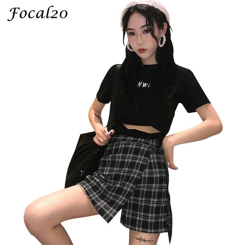 Focal20 Streetwear Plaid Irregular Women Skirt   Shorts   Lace-up High Waist Casual Loose   Shorts